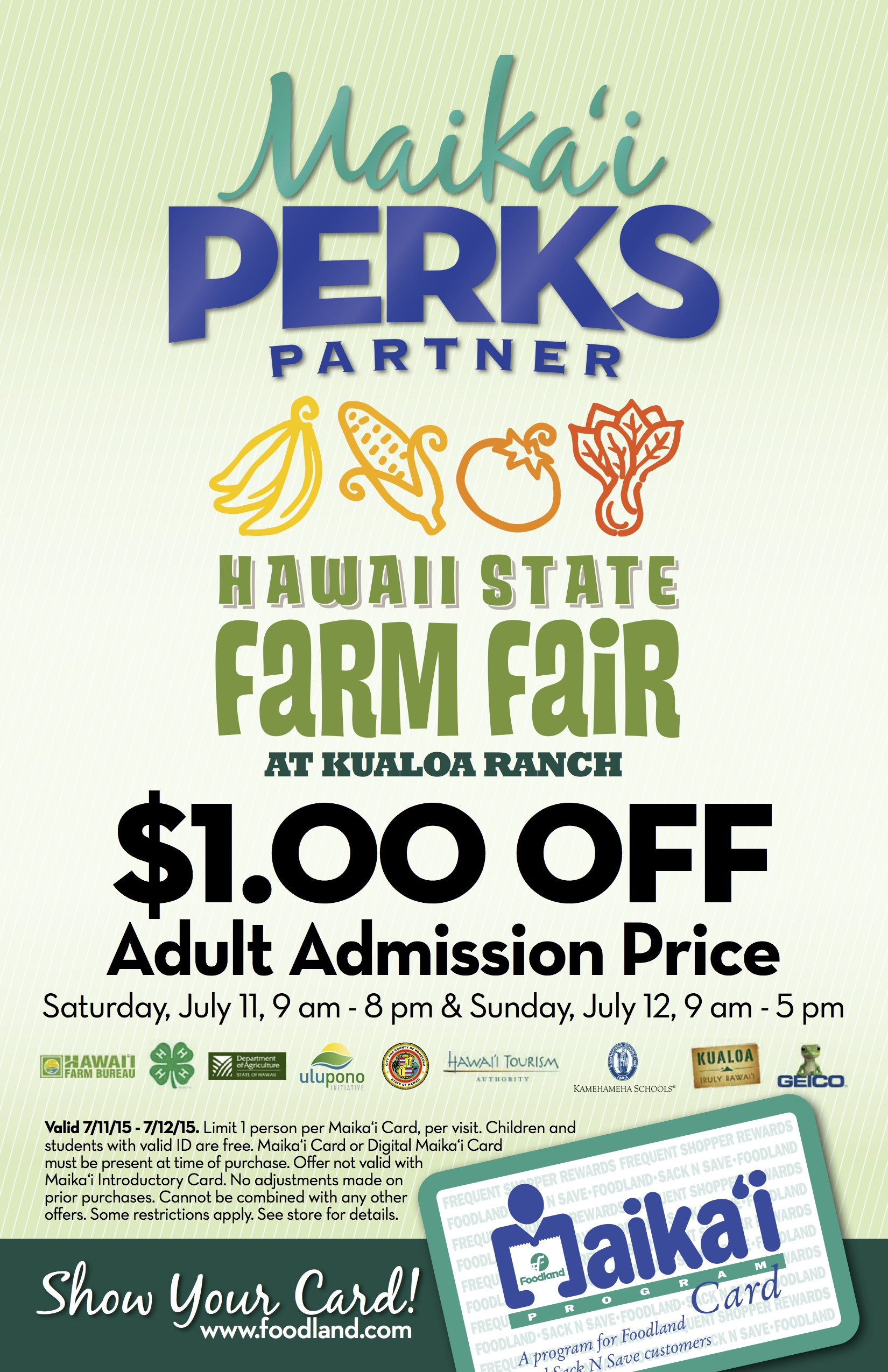 We are Maika'i Card Partners Again! Mahalo Foodland! (@foodlandhi @kualoahi)